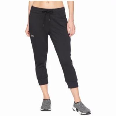 アンダーアーマー クロップド Cotton Fleece Slim Leg Crop Black/Stealth Gray/White