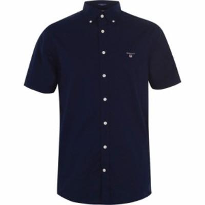 ガント Gant メンズ 半袖シャツ トップス Short Sleeve Broadcloth Shirt Navy