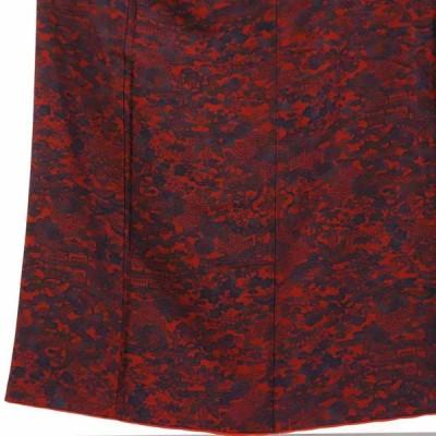 リサイクル着物 小紋 正絹赤×紺紅型調袷小紋着物