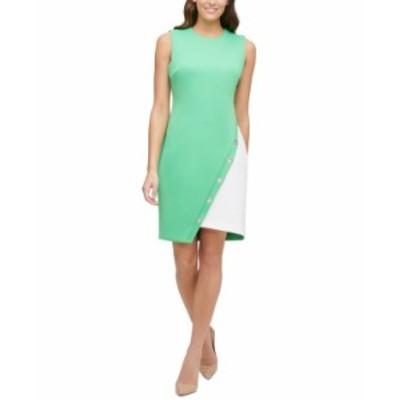 トミー ヒルフィガー レディース ワンピース トップス Colorblocked Scuba Dress Peapod Green/Ivory