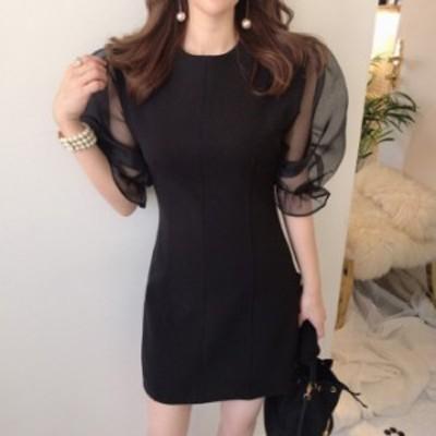 ワンピース ドレス 黒 シースルー バルーン袖 ミニドレス セクシー かわいい 韓国 ファッション レディース オルチャン お呼ばれ ワンピ