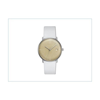 Junghans Watch Max Bill Ladies Quartz Polished Honey Dial Date White Leather Strap 047/4657.00並行輸入品