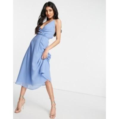 エイソス レディース ワンピース トップス ASOS DESIGN cami wrap midi dress with lace up back Sky blue