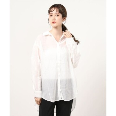 シャツ ブラウス シースルー 無地チュニック丈 シアービッグシャツ/ 長袖