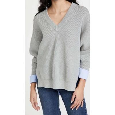 アレキサンダー ワン alexanderwang.t レディース ニット・セーター Vネック Bi-Layer V Neck Pullover with Oxford Shirting Light Heather Grey/Blue