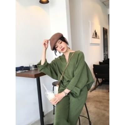 セットアップ 韓国ファッション トップス 長袖  パンツ 秋冬 ゆったり 大人可愛い カジュアル きれいめ 大人ファッション