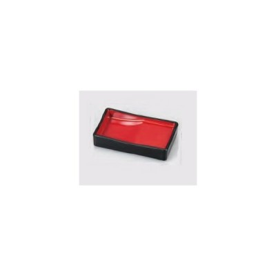 箸置き付長角醤油皿 黒内朱 ABS樹脂 f6-1122-35