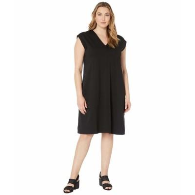 エイリーンフィッシャー ワンピース トップス レディース Plus Size V-Neck Dress Black