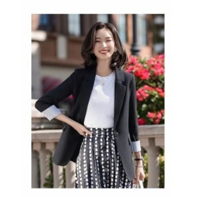 テーラードジャケット ベーシック ミディ丈 シングルボタン 通勤 レディース 春秋コーデ OL 辛口 大人女子 カジュアル 韓国ファッション
