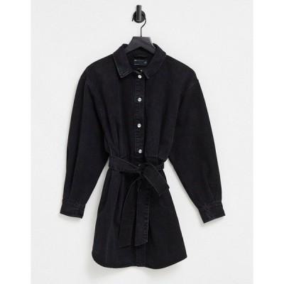 エイソス レディース ワンピース トップス ASOS DESIGN Denim oversized belted shirt dress in washed black Washed black