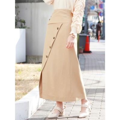 dazzlin フロントボタンタイトスカート(クリーム)