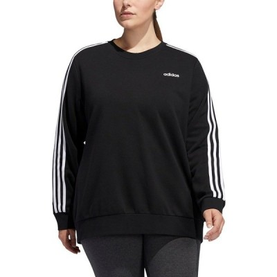 アディダス カットソー トップス レディース Essentials Plus Size 3 Stripe Fleece Sweatshirt Black/White