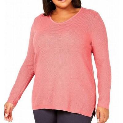 レディース 衣類 トップス Womens Sweater Pink Plus Seed-Stitch Textured V-Neck ブラウス&シャツ