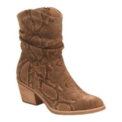 ソフト レディース ブーツ&レインブーツ シューズ Aronna Waterproof Slouch Boot Cognac Waterproof Snake Print Suede