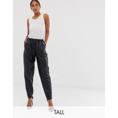 エイソス レディース カジュアルパンツ ボトムス ASOS DESIGN Tall tapered leather look pants Black