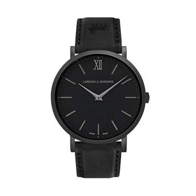 Larsson & Jennings LJXII Lugano Unisex Mens & Womens Watch with 40mm Black dial and Black Leather Strap LX40-LBK-BB. 並行輸入品