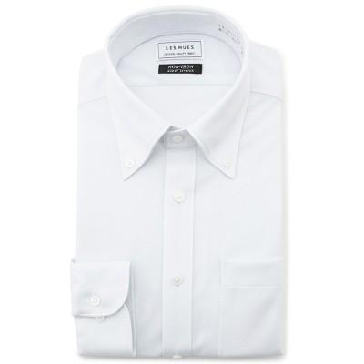 ノンアイロンストレッチ ニット生地 白 ボタンダウンシャツ 織柄無地 レギュラーフィット LES MUES