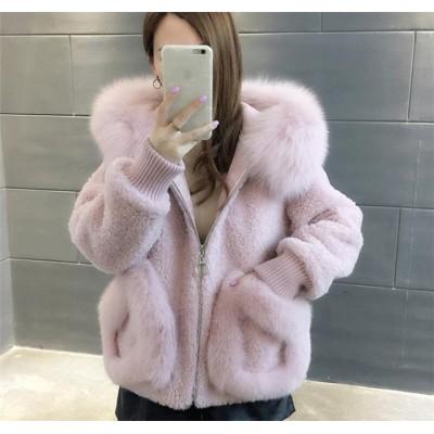 とてもファッション  秋 冬 韓国 新 模造子羊 sweet系 小さい新鮮な 百掛け 毛皮 ファッション カジュアル コート 短いスタイル ゆったりする 女性 トップス