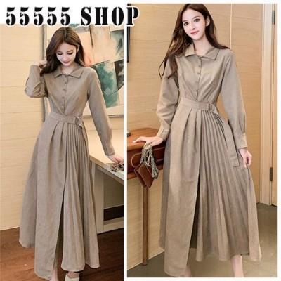 [55555SHOP]新商品入荷新しいデザイン 女性服 レトロ 縫付 プリーツ ロング ワンピース エレガントOL 通勤 腰止めひも 細身 ドレス