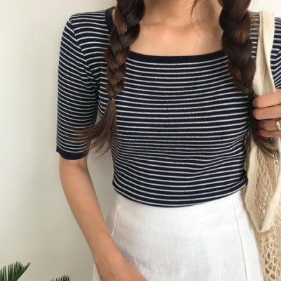 HEYLADY レディース ニット/セーター Kud Square Stripe Knit Tee