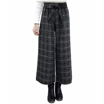 [コアラージュ] ウール ワイド リボン ガウチョ パンツ 綺麗め 通勤 美シルエット ズボン ゆったり オフィス レディース