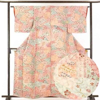 リサイクル着物 小紋 正絹ピンク地袷小紋着物未使用品