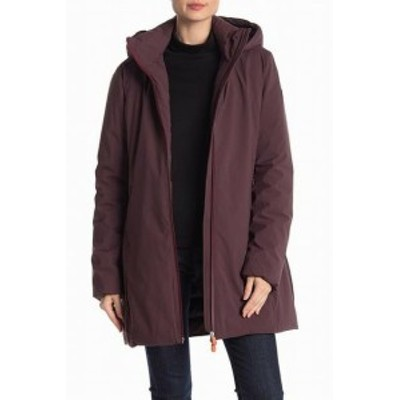 Save the Duck セーブ ザダック ファッション 衣類 Save the Duck Womens Burgundy Red Size XS Hooded Rain Coat Jacket