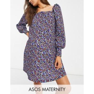 エイソス レディース ワンピース トップス ASOS DESIGN Maternity textured smock mini dress in blue and red floral ditsy print Blue/