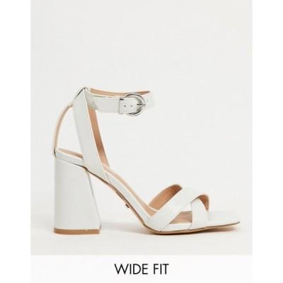 トップショップ レディース ヒール シューズ Topshop Wide Fit sasha strappy block heel in white