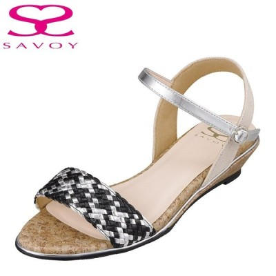 サボイ SAVOY SA94269 レディース | サンダル | 編み込み | クッション性 楽 | メッシュ クリア素材 | ブラックコンビ