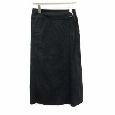 【中古】マイバイワンエルディーケー MY_by 1LDK ラップスカート ロング タイト フェイクスエード 0 黒 ブラック