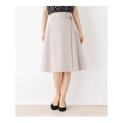 インデックス INDEX ボタンベルト風Aラインスカート【WEB限定サイズ】 (ベージュ)