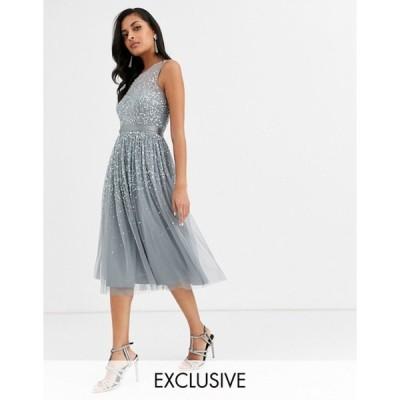 アメリアローズ レディース ワンピース トップス Amelia Rose bridesmaid midi dress with scattered embellishment in dark gray