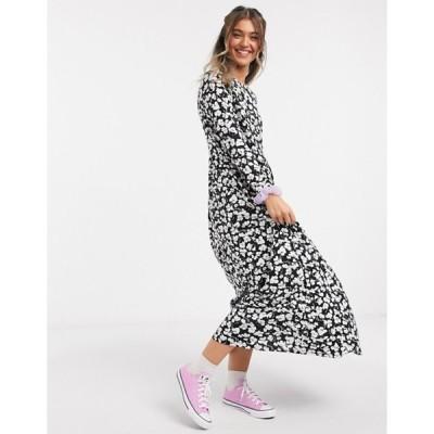 エイソス レディース ワンピース トップス ASOS DESIGN maxi smock dress in black and white floral print