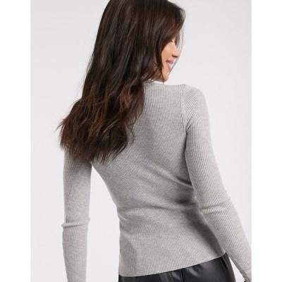 リバーアイランド レディース ニット&セーター アウター River Island frill turtleneck sweater in gray Gray