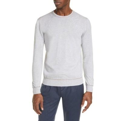 イレブンティ メンズ ニット&セーター アウター Crew Neck Contrast Slim Sweater 13 LIGHT GREY MELANG