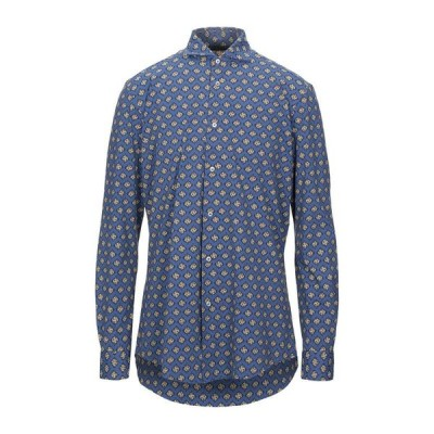 BRIAN DALES 柄入りシャツ  メンズファッション  トップス  シャツ、カジュアルシャツ  長袖 ブルー