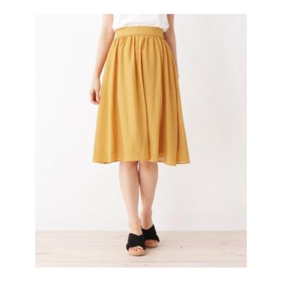 【洗える・42(LL)WEB限定サイズ】ひざ丈ギャザースカート