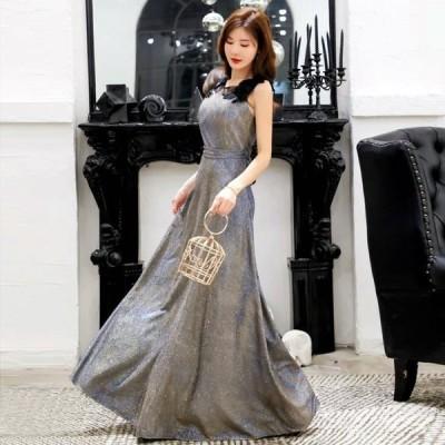 結婚式 ドレス ぽっちゃり 予約 F〜4L パーティードレス 大きいサイズ LSFS-9692 刺繍 レース ラメ入り ロングドレス ワンピース グレー