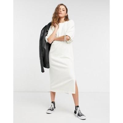 トップショップ Topshop レディース ワンピース ミドル丈 ワンピース・ドレス Drawstring Midi Dress In Cream クリーム