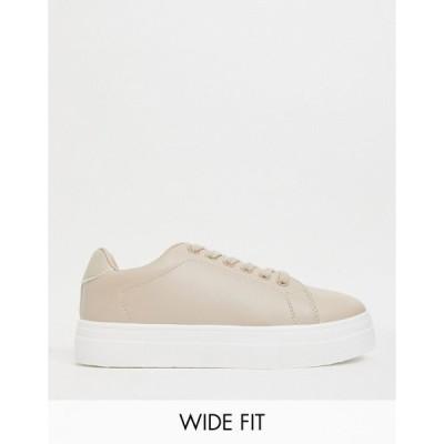 ロンドンレベル レディース スニーカー シューズ London Rebel wide fit flatform lace up sneaker in beige Beige