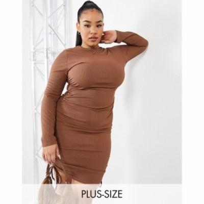 アイソウイットファースト I Saw It First Plus レディース ワンピース ワンピース・ドレス long sleeve ruched dress in chocolate チョ