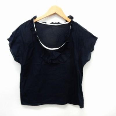 【中古】マカフィー MACPHEE トゥモローランド カットソー Tシャツ 半袖 フリル 透け感 シンプル 38 ネイビー 紺