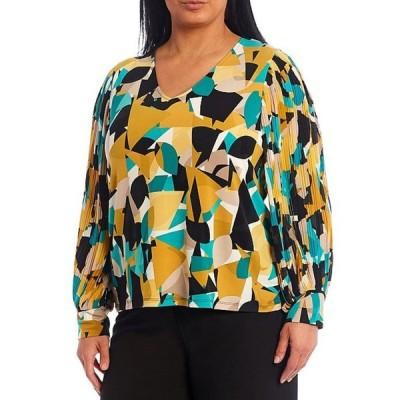 カルバンクライン レディース シャツ トップス Plus Size Abstract Print V-Neck Pleated Chiffon Blouson Sleeve Top