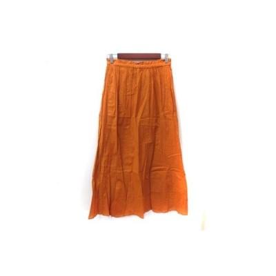 【中古】未使用品 ティアラ Tiara フレアスカート マキシ ギャザー 1 オレンジ /YI レディース 【ベクトル 古着】