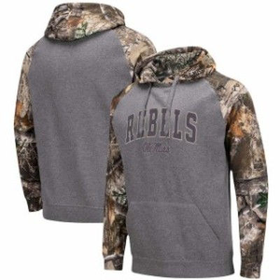 Colosseum コロセウム スポーツ用品  Colosseum Ole Miss Rebels Charcoal/Realtree Camo Arch & Logo Pullover Hoodie
