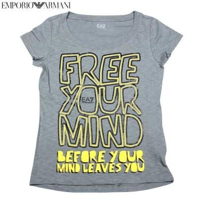 エンポリオアルマーニ(EMPORIO-ARMANI)レディース トップス 半袖 Tシャツ EA7ロゴ入りカットソー 色違い(白/ピンク)あり グレー 283628 4P207 01449   14S