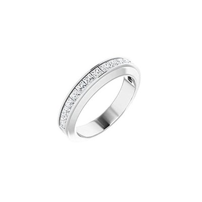 Solid 14k White Gold 3/4 Cttw Diamond Matching Ring Band - Size 7 (.75 Cttw
