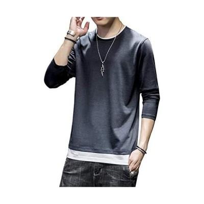 Tシャツ メンズ 無地 長袖 100%綿 カジュアル ファッション おおきいサイズ 秋服 丸襟 快適 レイヤード風 (#02-グレー 2XL)