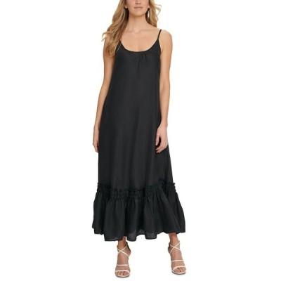 ダナ キャラン ニューヨーク ワンピース トップス レディース Ruffled-Hem Cami Maxi Dress Black